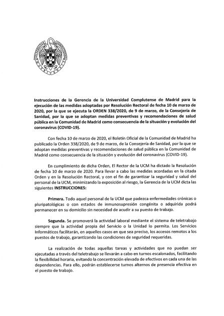 INSTRUCCIONES GERENCIA UCM EN RELACIÓN CON RESOLUCIÓN RECTORAL DE 10 DE MARZO DE 2020